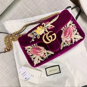Gucci Velvet Marmont Bag Fuchsia floral embroidery